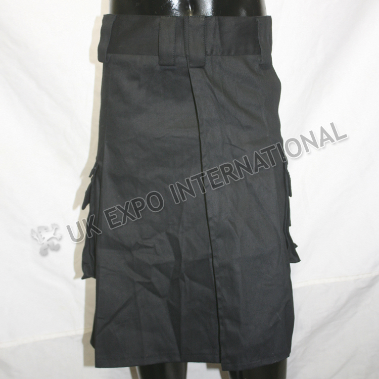 Black Color Gothic Utility Kilt Front Velcro Closing  with 2 side pockets