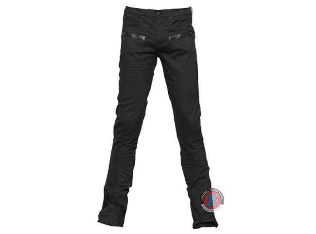 Black Denim Leather Look Application Mens Pants