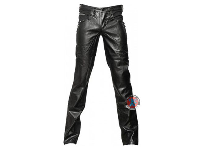 Black Denim Mens Pants With Leather Look Application