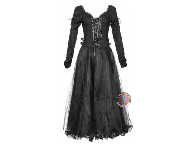 Black Long Dress With Lacing & Tulle