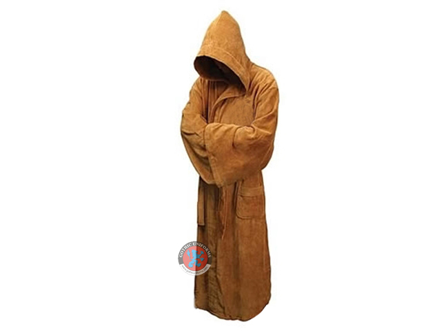Brown Long Hooded Robe For Adults