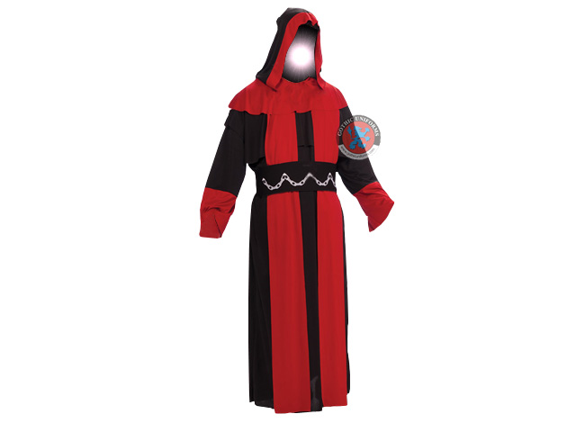 Black and Red with belly Gents Hooded Robe
