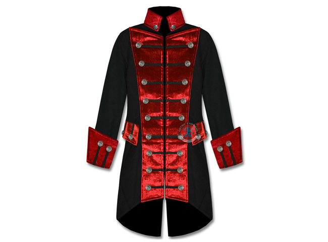 Gothic  Punk Mens Black With Red Velvet Trim Steampunk Vampire Goth Jacket Pirate Coat