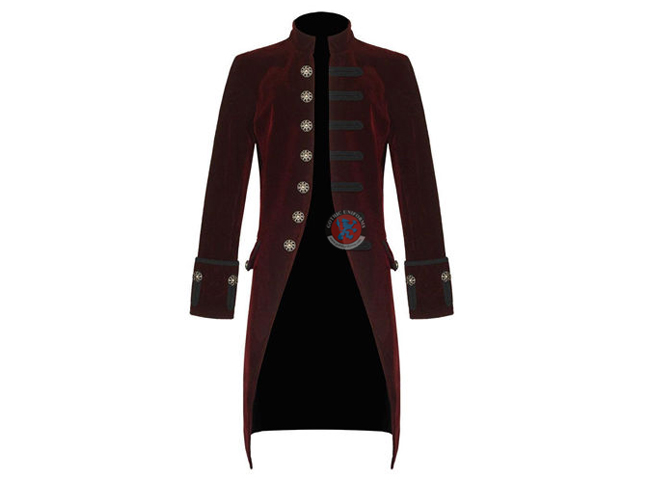 Gothic Mens Red Velvet  Steampunk Victorian Coat