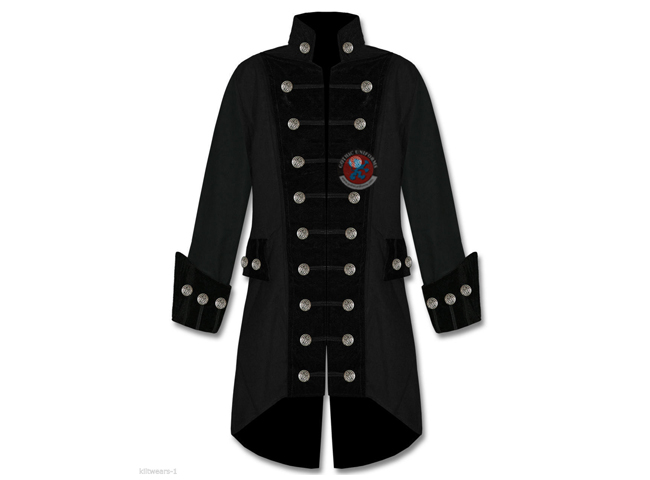 Gothic Punk Handmade Mens Black Velvet Trim Steampunk Vampire Goth Jacket Pirate Coat