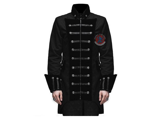 Gothic Punk Handmade Mens Frock Coat Black Steampunk Fashion Jacket