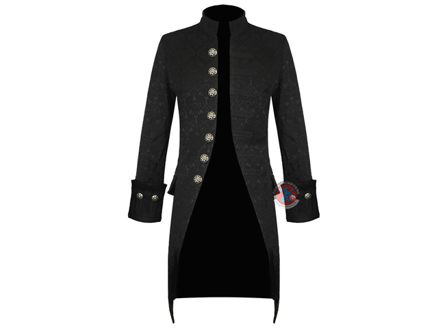 Gothic Punk Handmade Mens Jacket Black Brocade Steampunk Victorian Frock Coat