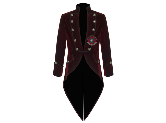 Gothic Punk Mens Handmade Steampunk Tail coat Jacket Red Velvet Goth VTG Victorian