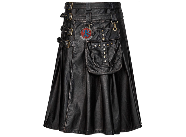 Gothic Single Piece Heavy Metal Leather Skirts