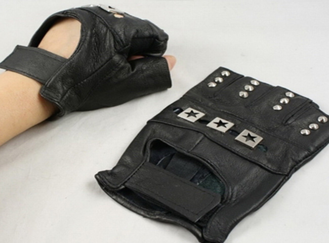 Gothic Punk Gloves Faux Leather 2 big