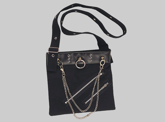 Cotton Bag With Lather strip and chains