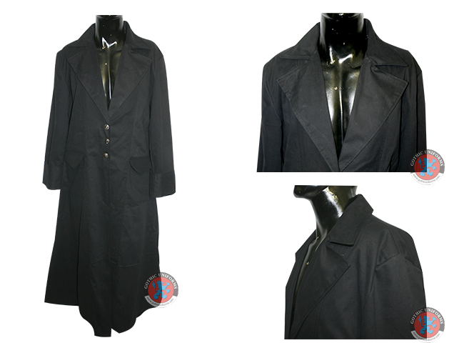 Black Color 100% Cotton Mens Long Coat Folded Cuf 3 Botton and 2 Pockets on Front with Coat Colar Style