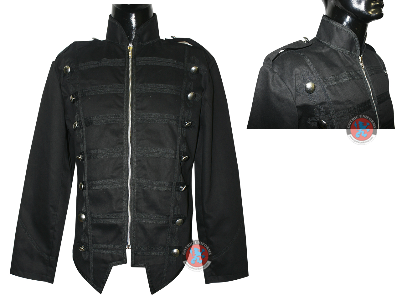 Black Color 100% Cotton Mens Jacket one zip, Braid and Bottons on Front. And Shoulders