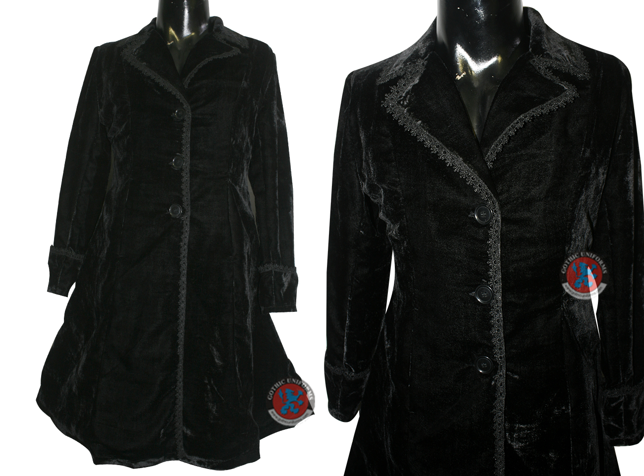 Black Color Velvet Ladies Long Coat with embroidery lace