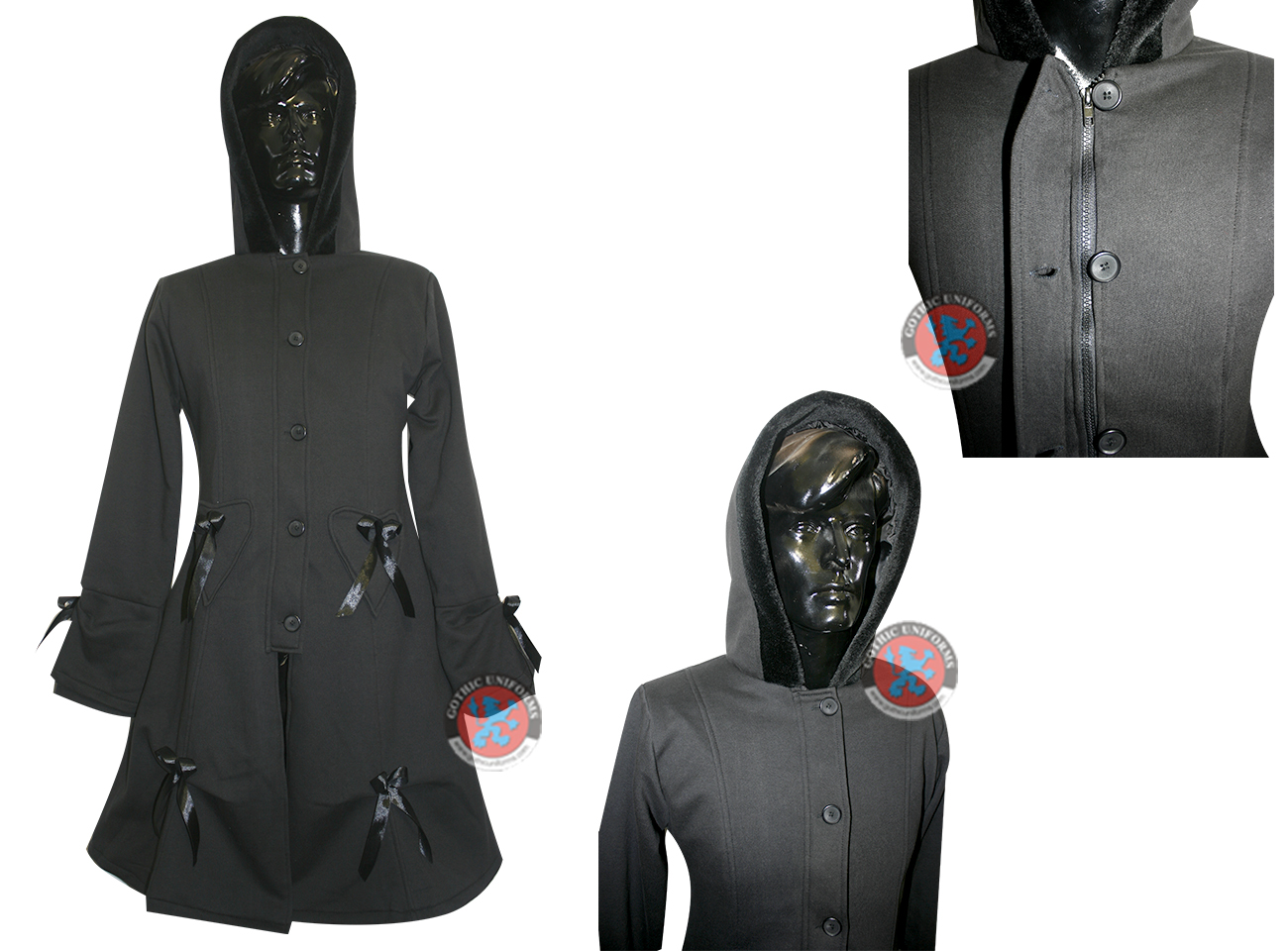 Black Color Polyester Ladies Long Coat