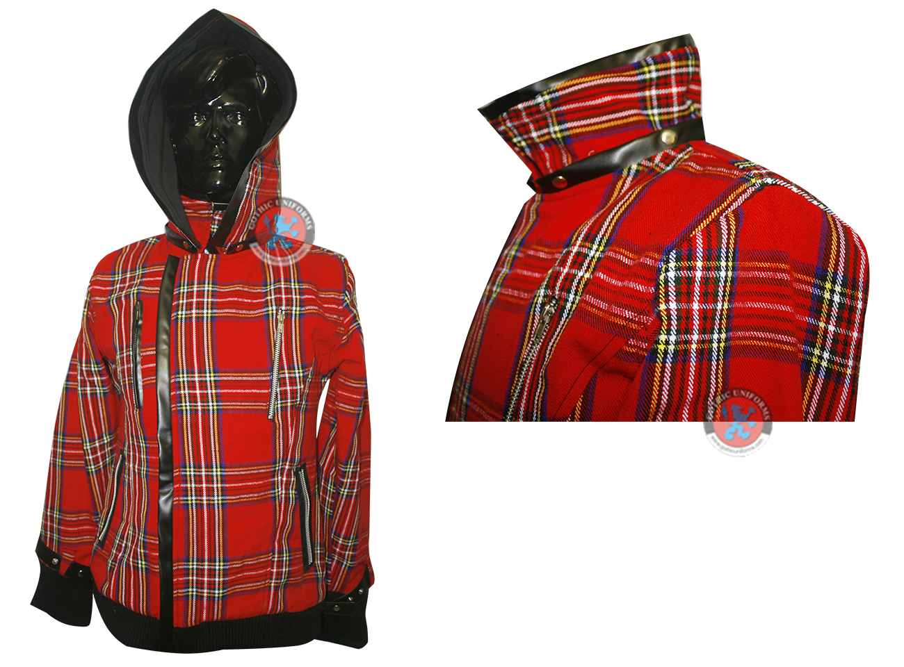 Red blood Hooded Gothic Jacket Removable Cap