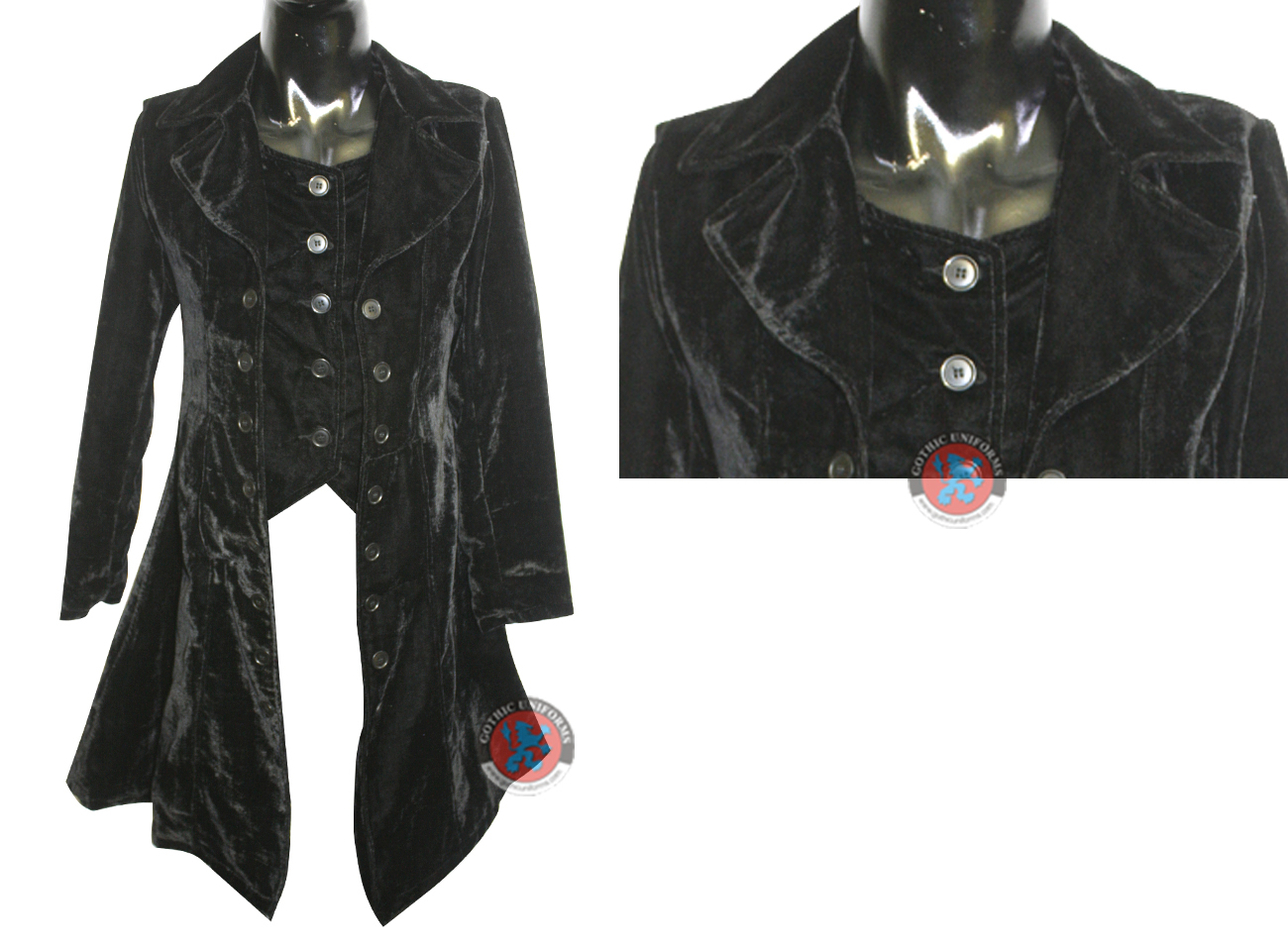 Black Color Velvet Ladies Long Coat