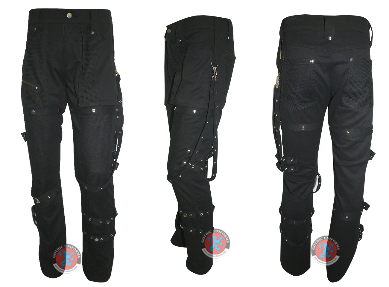 Ladies Black Cotton Strap and buckle trouser