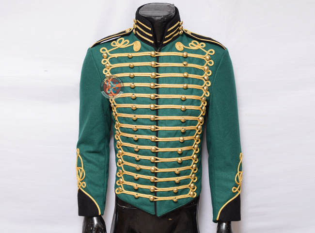 Steampunk Military Jacket in Bottle Green Color