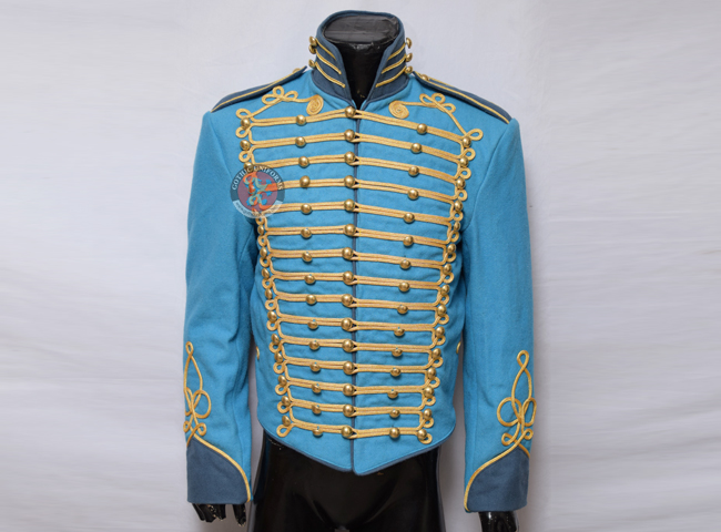 Steampunk Military Jacket in Blue Color With gold braid decoration to front Brass dome buttons