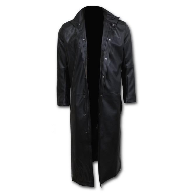 Men Just Tribal Gothic Trench Coat Pu Leather With Full Zip