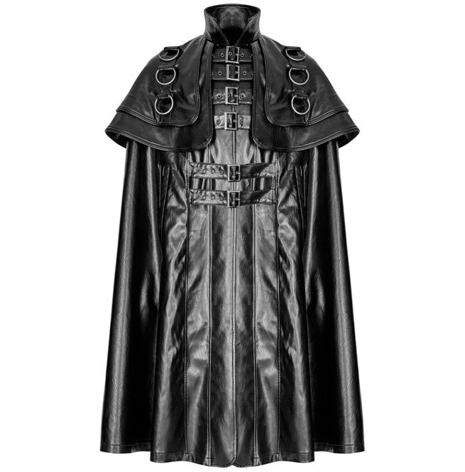 Men Steampunk Faux Leather Cloak Coat Black Gothic