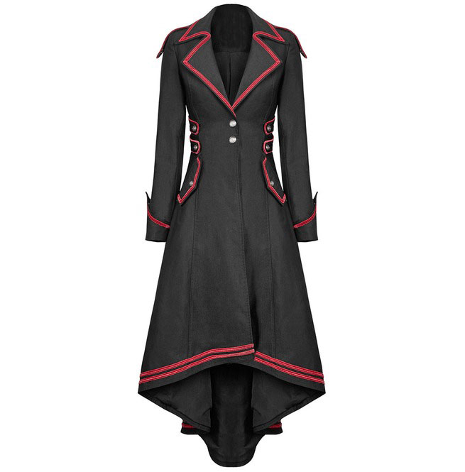 Goth Punk Long Coat Lace Button Detail Womens