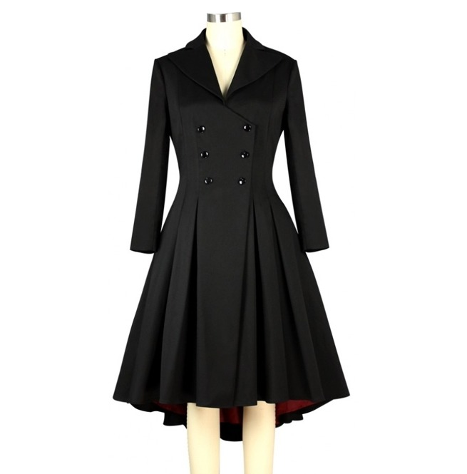 Women Vintage Long Sleeve Gothic Bustle Back Coat