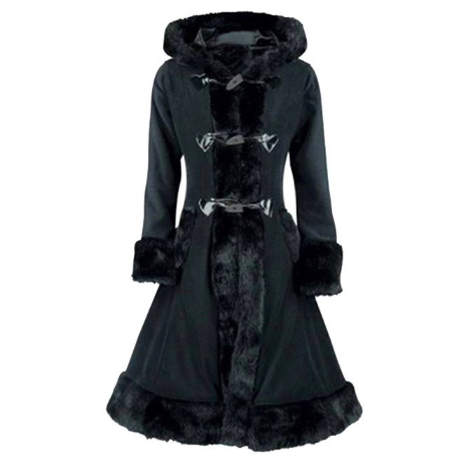 Victorian Gothic Retro Black Flock Hooded Overcoat Trench