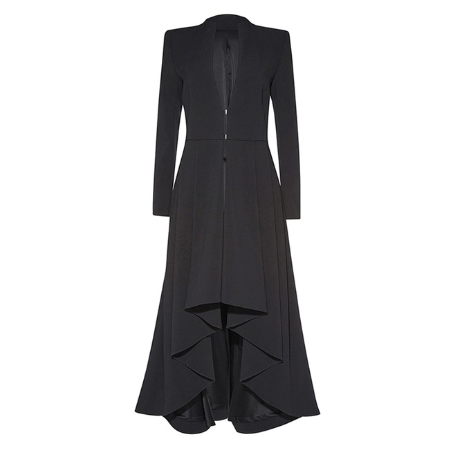 Asymmetric High Low Goth Witch Long Sleeve Maxi Womens Coat
