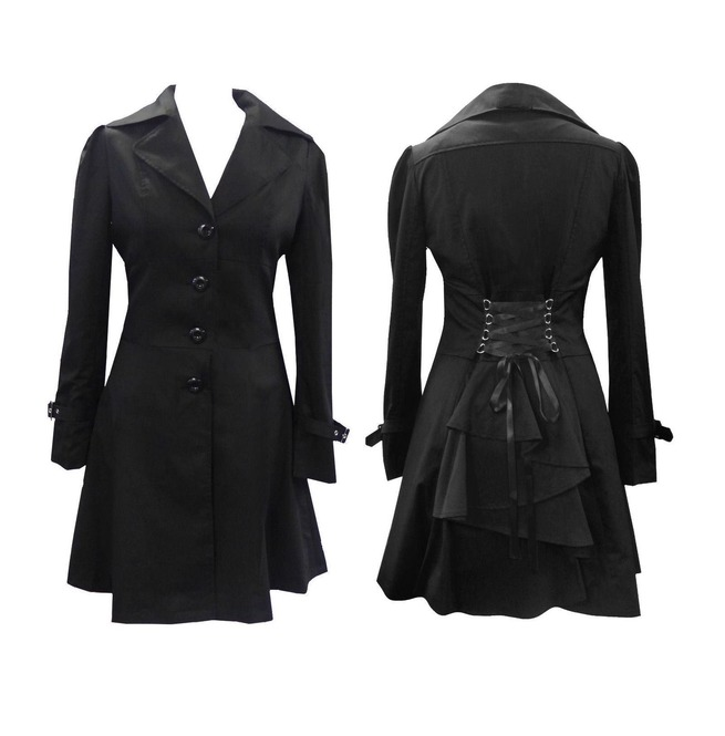 Women Gothic Victorian Corset Riding Jacket Black