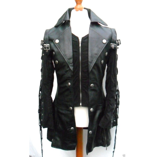 Men Black Gothic Coat Lamb Skin Real Leather