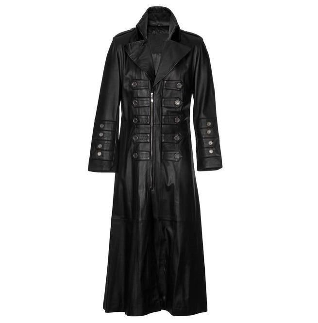 Mens Gothic Full Length Black Leather Military Steampunk