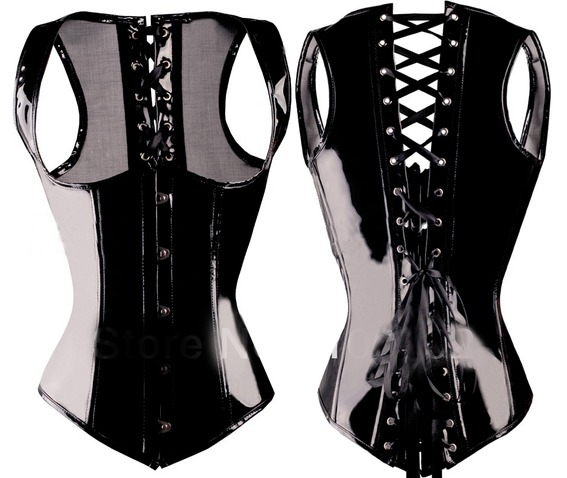 Essential Shiny Black Underbust Gothic Corset Top
