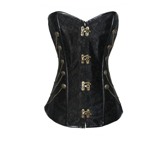 Gothic Mental Chain Overbust Corset With Thong