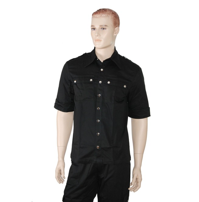 Men Gothic Military Short Sleeves Shirt Black Punk Shirt