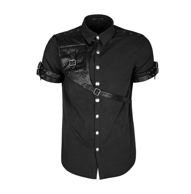 Men Gothic Shady Shirt Black Short Sleeved Steampunk Shirt W Leather Starps