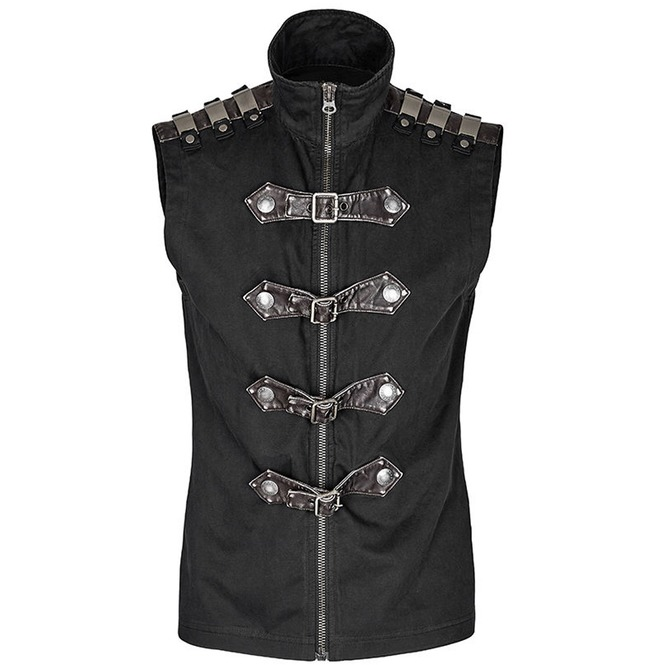 Men Gothic Vest Cyber Steampunk Waistcoat Military Rock Black Vest Top