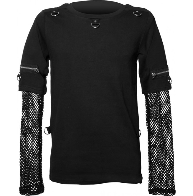 Men Gothic Top With Mesh Sleeves Punk Men Shirt Top