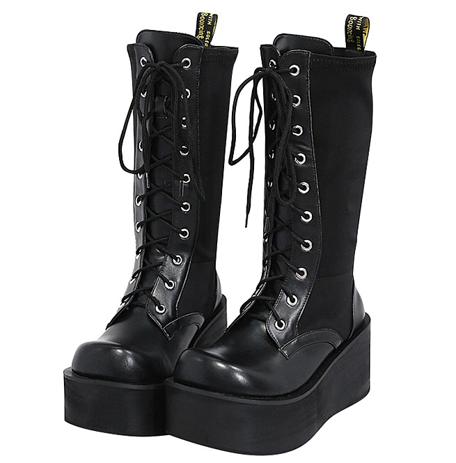 Gothic Black Women Mid High Lace Up Platform Boots