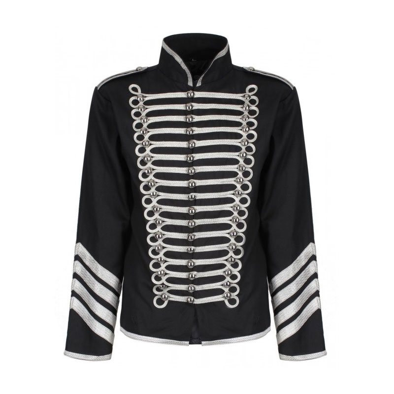 Men Military Jacket Silver Gold Gothic Army Parade Jacket Drummer Steampunk Jacket