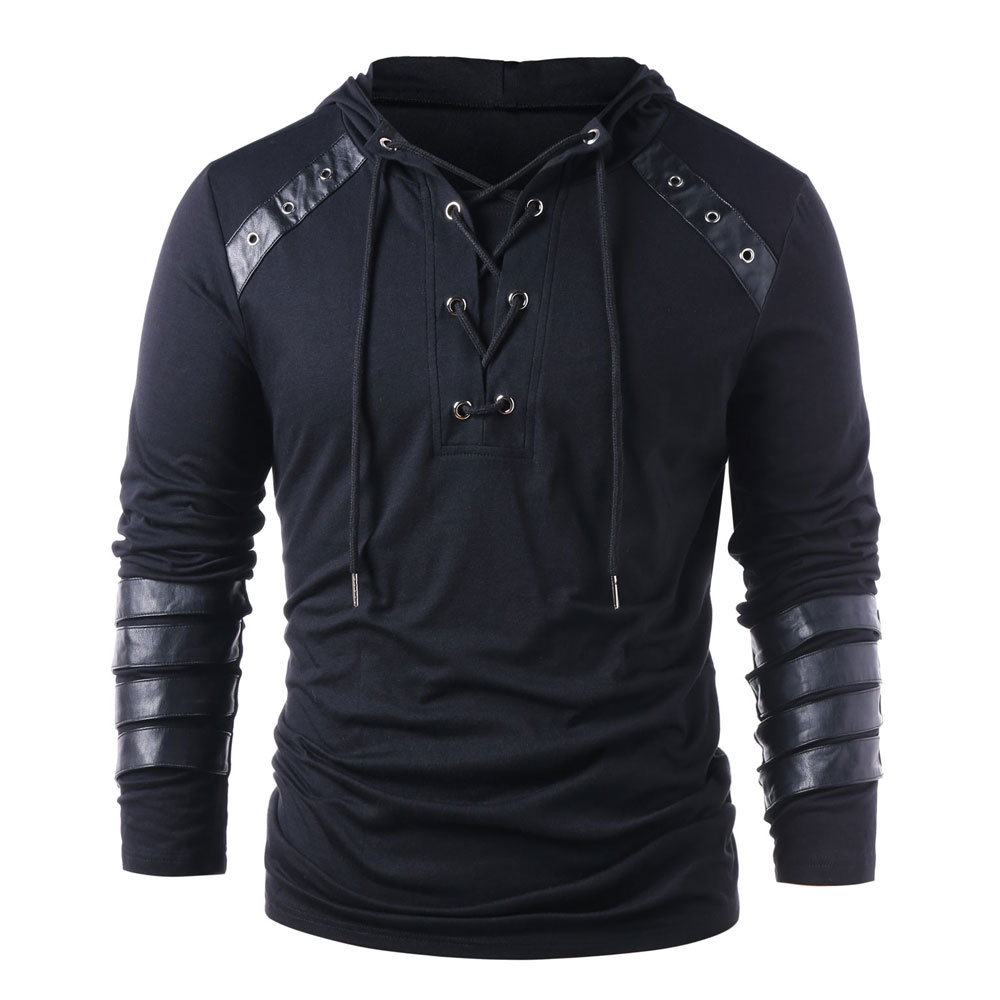 Men Lace Leather Hoodies Monochrome Long Sleeve