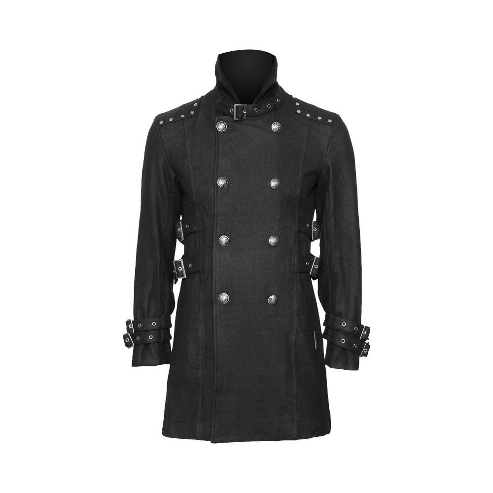 Black car coat with stand collar