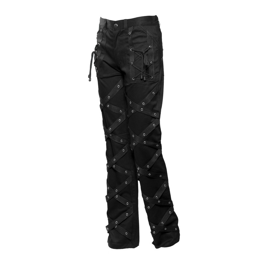 Mens pants with straps and eyelets application