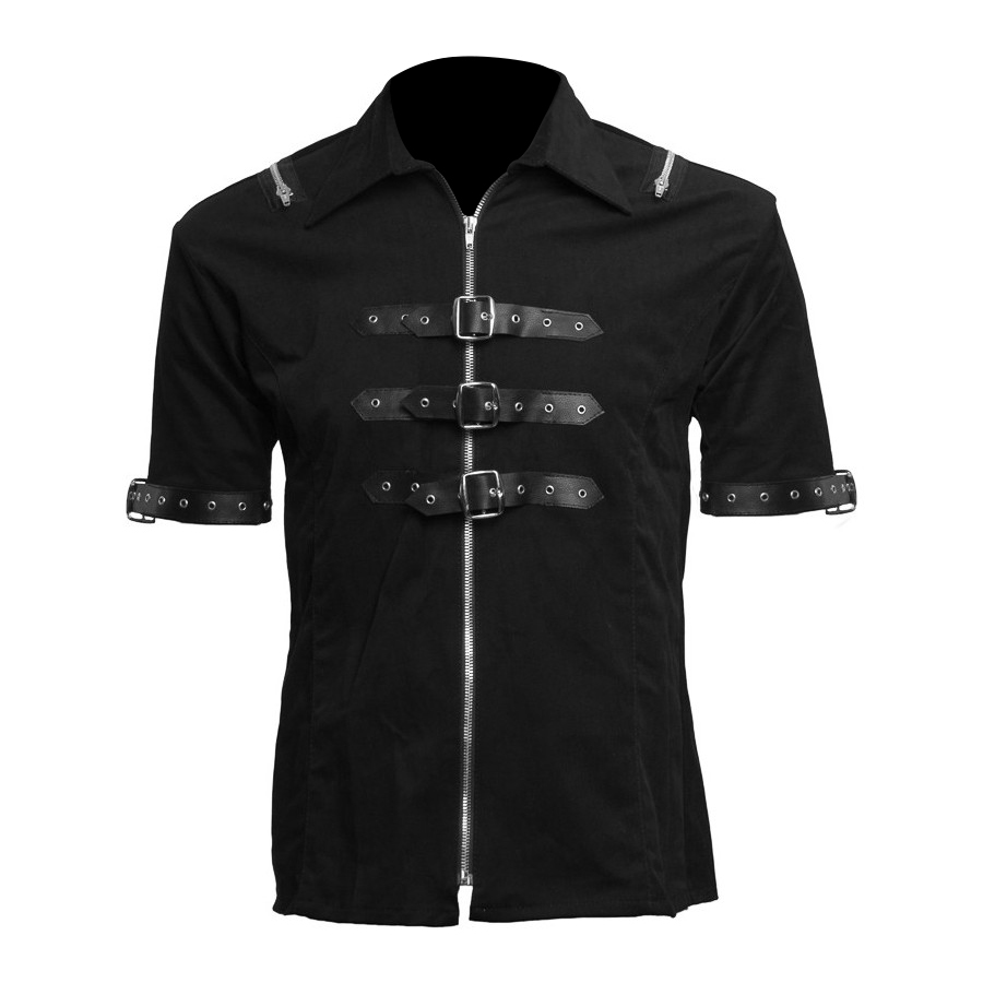 Men Gothic Black Denim Shirts