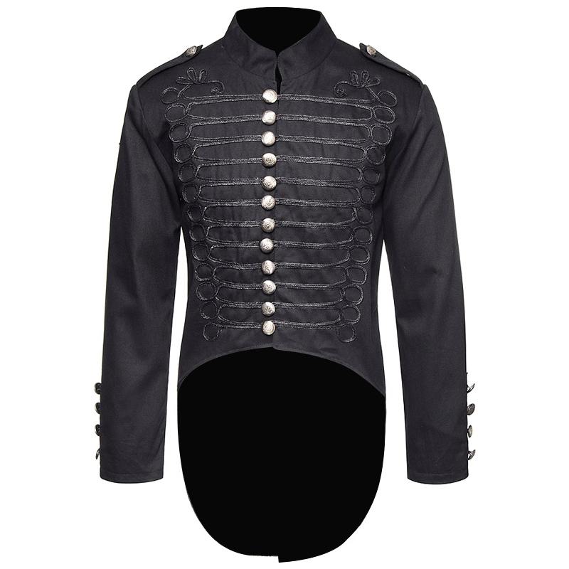 Men Gotic Golden Steampunk Military Tail Coat