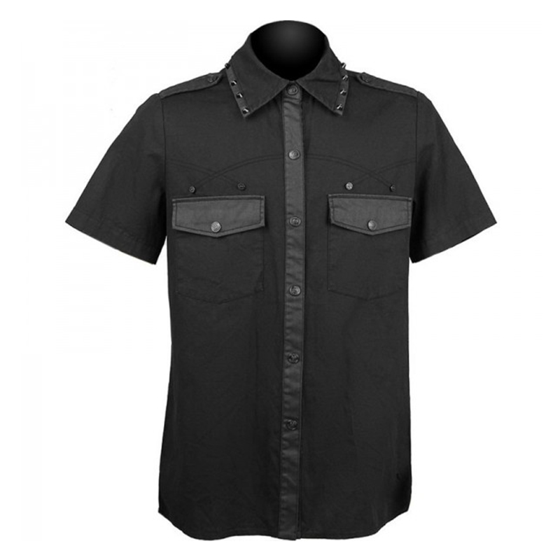 Men Gothic Black Shirt with studs on collar cotton material