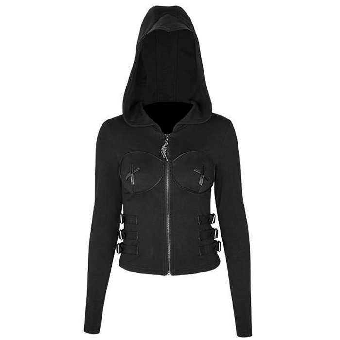Women Gothic Backless Hooded Black