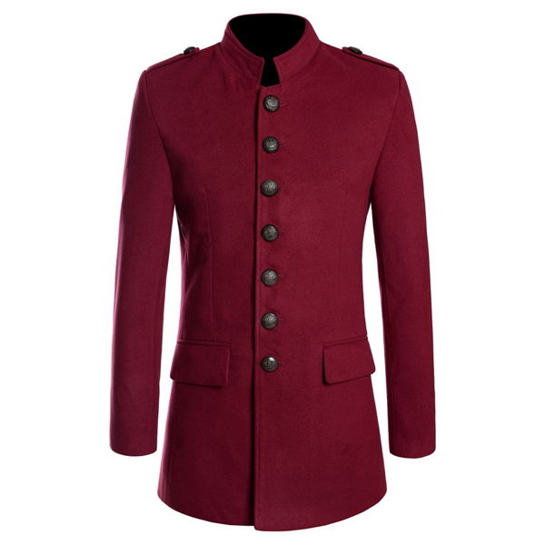 Women Gothic Red Napoleon Military Style Coat