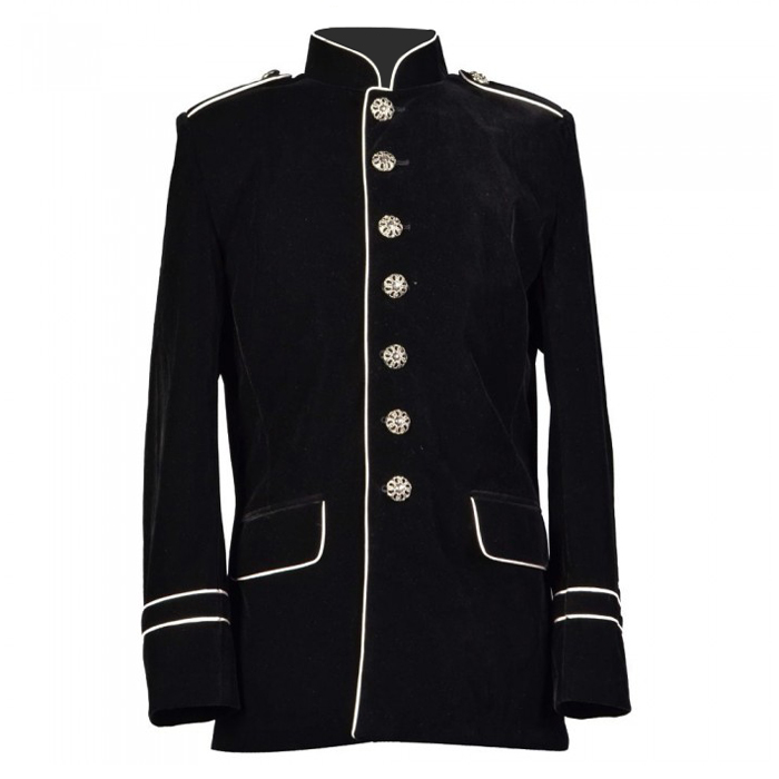 Men Military Jacket Gothic White Piping Trim Coat
